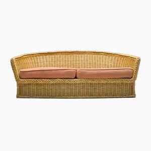 Italian Rattan 2-Seater Sofa, 1970s