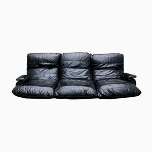 Black Leather Model Marsala Sofa by Michel Ducaroy for Ligne Roset, 1970s