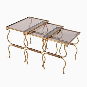 Tavolini ad incastro dorati, anni '50, set di 3