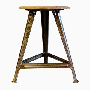 German Metal and Wood Stool by Robert Wagner for Rowac, 1930s