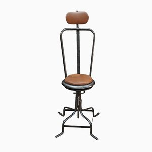 Chaise de Salon de Coiffure Ajustable en Métal et Cuir, 1920s