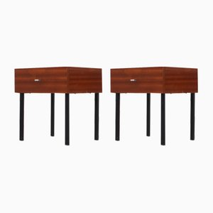 Teak and Steel Nightstands by Pierre Guariche for Meurop, 1960s, Set of 2