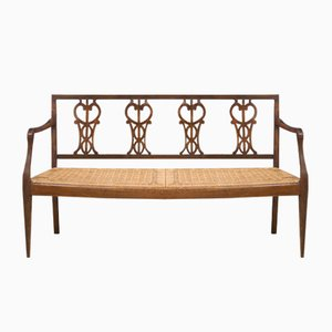 Antique Louis XVI Walnut and Straw Bench, Tuscany