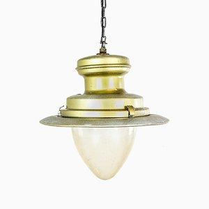 Lámpara colgante inglesa dorada de DW Windsor, años 40