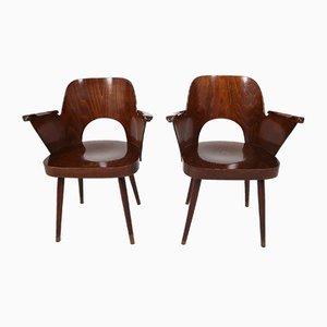 Bugholz Armlehnstühle von Oswald Haerdtl für Thonet, 1950er, 2er Set
