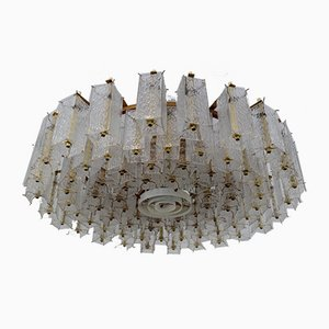 Large Mid-Century Glass and Brass Ceiling Lamp, 1960s