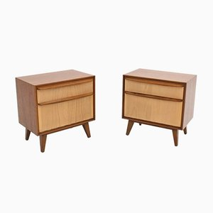 Teak and Birch Nightstands, 1960s, Set of 2
