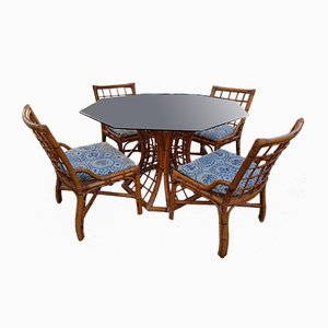 Rattan Dining Table & Chairs Set from Roche Bobois, 1980s