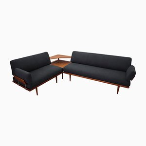 Mid-Century Model Minerva Sofas and Side Table by P. Hvidt & O. Mølgaard-Nielsen for France & Søn/France & Daverkosen, Set of 3