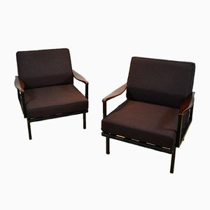 Italian Rosewood Model P24 Lounge Chairs by Osvaldo Borsani for Tecno, 1960s, Set of 2