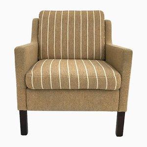 Danish Striped Grey Wool Club Chair, 1970s