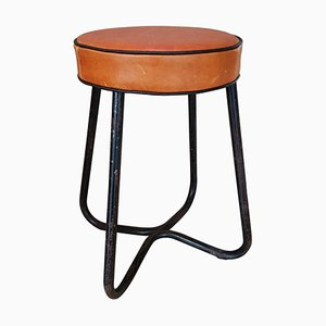 German Metal and Leather Stool by Marcel Breuer, 1930s
