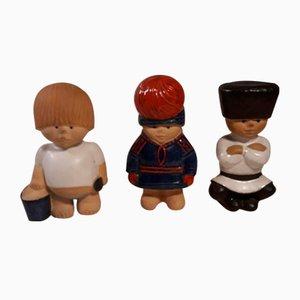 Figurines Children of the Earth en Céramique par Lisa Larson pour Rörstrand, 1980s, Set de 3