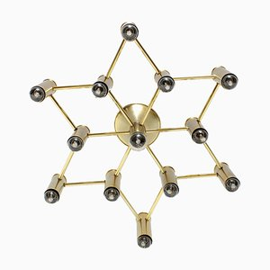 Brass Chandelier by Gaetano Sciolari for Sciolari, 1970s