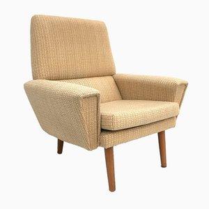 Danish Cream Wool & Teak Highback Armchair, 1960s