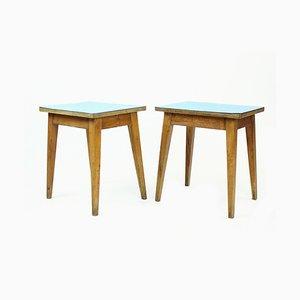 Mesas auxiliares Mid-Century de roble y formica azul, años 60. Juego de 2