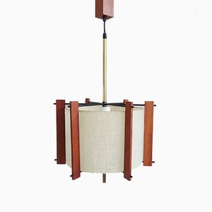 Scandinavian Teak, Brass, and Fiberglass Ceiling Lamp, 1960s
