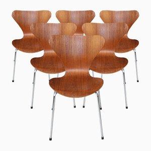 Sillas de comedor danesas de teca de Arne Jacobsen para Fritz Hansen, años 80. Juego de 6