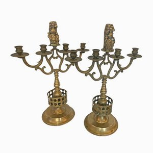 Antique Gothic Style Bronze Candleholders, Set of 2