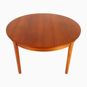 Round Danish Teak Extendable Dining Table, 1960s