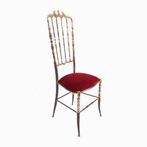 Mid-Century Italian Brass Chiavari Dining Chair