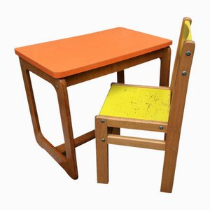Juego de silla y escritorio para niños, años 60