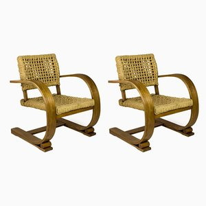 French Armchairs by Adrien Audoux & Frida Minet, 1940s, Set of 2