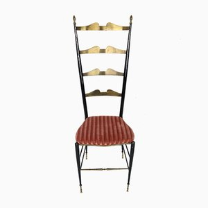 Mid-Century Italian Brass and Velvet Side Chair by Chiavari, 1950s