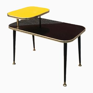 Italian Black and Yellow Formica, Wood, and Brass Coffee Table, 1960s