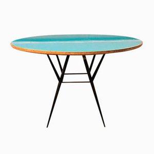 Mesa de comedor italiana Mid-Century de madera, cristal azul claro y metal, años 50
