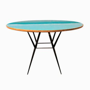 Mid-Century Italian Wood, Light Blue Crystal, and Metal Dining Table, 1950s