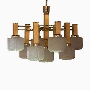 Italienische Mid-Century Deckenlampe aus Messing von Gaetano Sciolari, 1960er