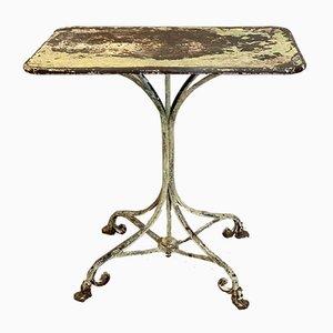 Mesa de jardín francesa antigua de hierro forjado