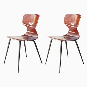 German Wood and Iron Dining Chairs by Adam Stegner for Pagholz Flötotto, 1960s, Set of 2