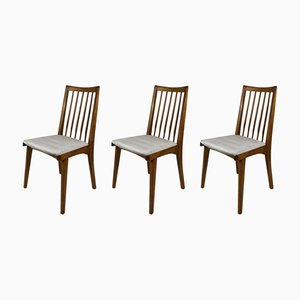 Brown and Beige Dining Chairs, 1970s, Set of 3