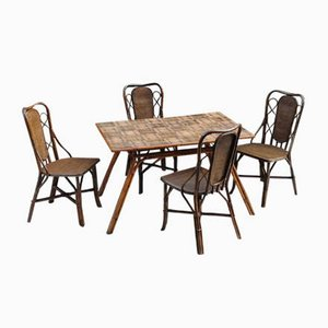 Rattan Dining Table by Audoux & Minet & Chairs Set, 1960s, Set of 5