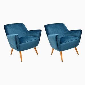 Mid-Century Blue Velvet Cocktail Armchairs, Set of 2