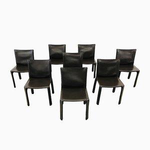 Chaises de Salle à Manger Modèle CAb 412 en Cuir Marron par Mario Bellini pour Cassina, 1990s, Set de 8