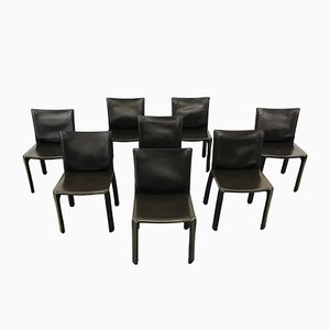 Model CAb 412 Brown Leather Dining Chairs by Mario Bellini for Cassina, 1990s, Set of 8