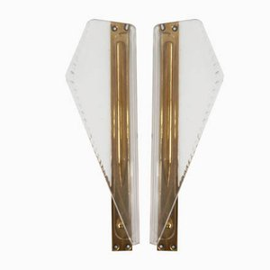 Italian Plexi and Brass Door Handles, 1950s, Set of 2