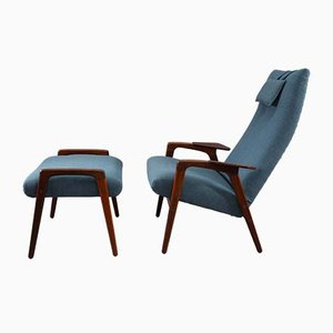 Mid-Century Lounge Chair & Footstool Set by Yngve Ekstrom