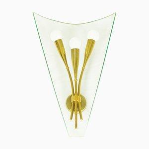 Italienische Mid-Century Wandleuchte aus Messing & Glas von Cristal Art