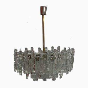 Lampadario grande in vetro smerigliato di J. T. Kalmar per Kalmar, Austria, anni '60