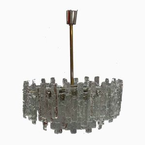 Large Austrian Ice Glass Chandelier by J. T. Kalmar for Kalmar, 1960s
