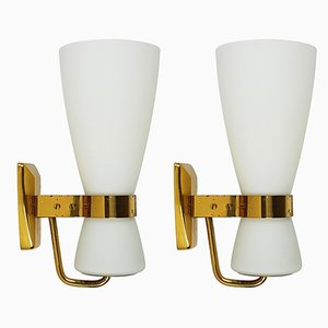 Large Brass and Glass Yellow Model 2118 Sconces from Stilnovo, 1950s, Set of 2