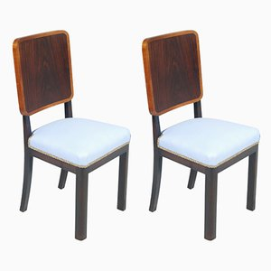 Art Deco Italian Light Blue Side Chairs, 1920s, Set of 2
