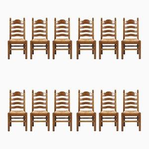 Sedie da pranzo vintage in legno di noce intagliato e paglia, Italia, anni '50, set di 12