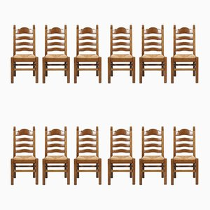 Vintage Renaissance Style Italian Carved Walnut and Straw Dining Chairs, 1950s, Set of 12