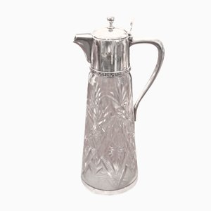 Vintage Engraved Crystal Water Pitcher