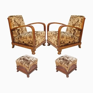 Art Deco Italian Walnut Armchairs and Ottoman Set by Fortunate Depero, 1920s